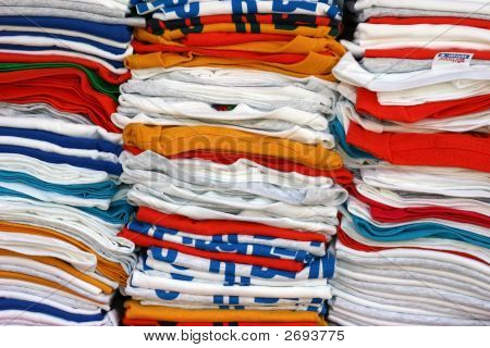 Stacked T-Shirts In Many Colors
