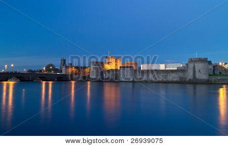 King John castle in Limerick at night - Ireland