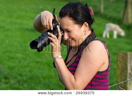Photographer woman in action