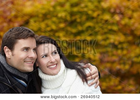 Pensive Couple In Autumn Thinking