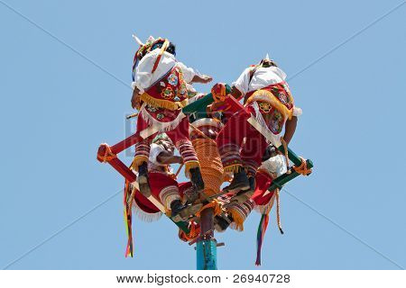 TULUM, MEXICO - JULY 15: Unkown Voladores men at