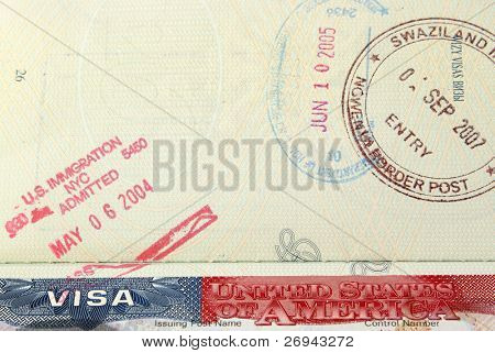 Open passport with USA visa