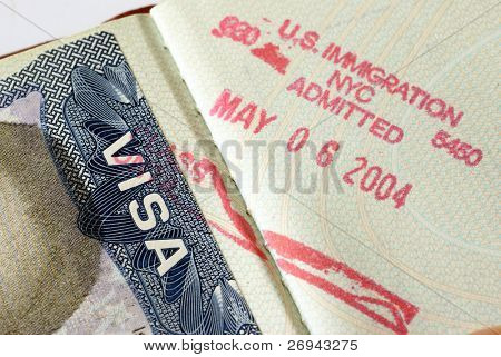 USA visa - close-up