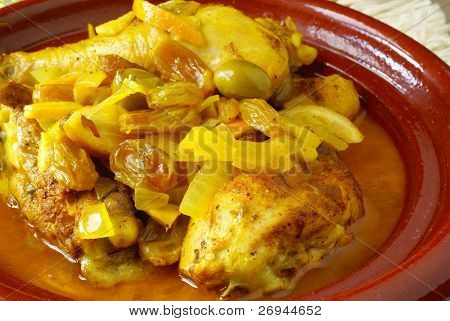 Moroccan chicken with preserved lemons, green olives and raisins
