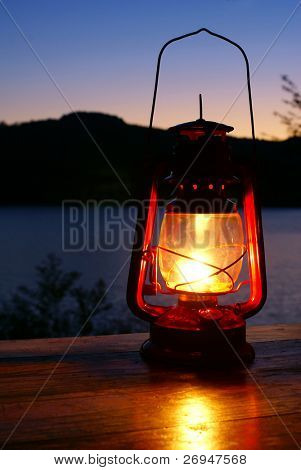 Kerosene lamp  at the lakeside
