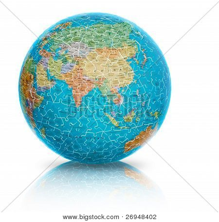 Asia earth globe puzzle illustration isolated on white