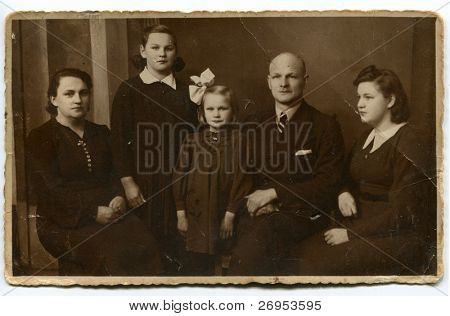 Vintage photo of happy family