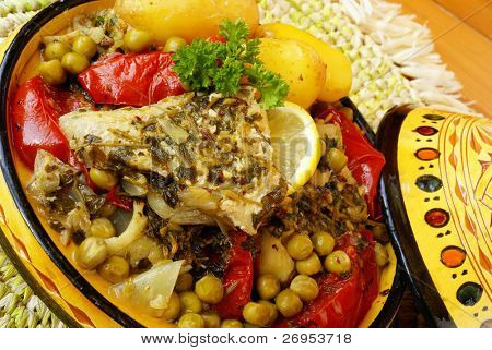 Moroccan fish chermoula tagine