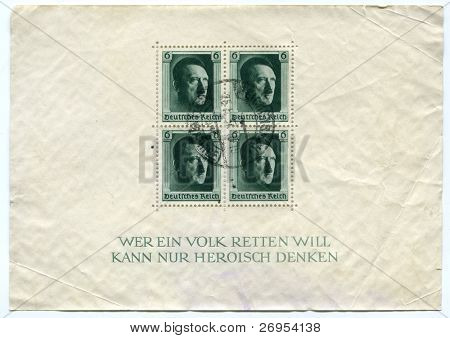 GERMANY - CIRCA 1937 - 4 German canceled stamps - sheet - show portrait of Adolf Hitler,  German Reich, circa 1937