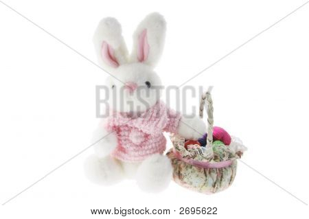 Toyr Bunny With Basket Of Easter Eggs