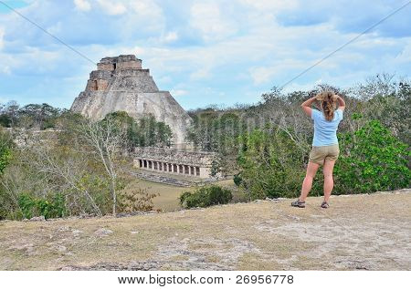 Girl in Mayan ruins in Uxmal, Mexico