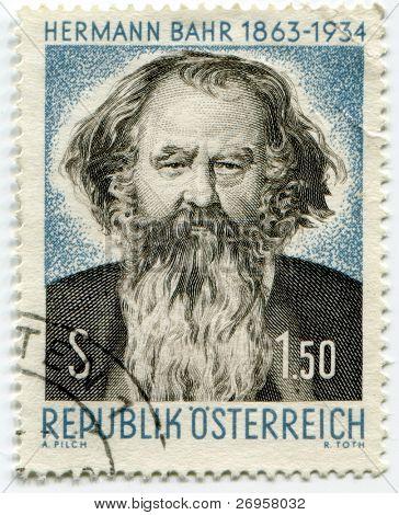 AUSTRIA - CIRCA 1963: A stamp shows Hermann Bahr, Austrian writer, playwright, director, and critic - circa 1963