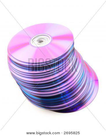 Caída montón de Cds púrpura