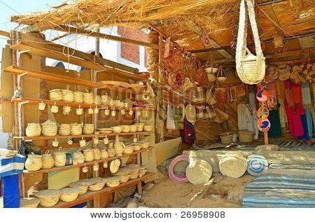 Souvenir stand in Nubian village, Egypt, Aswan region