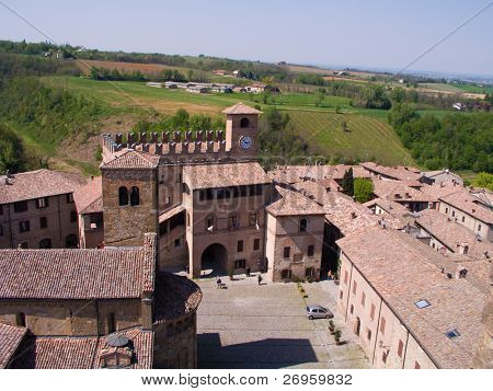 Castell'Arquato, beautiful medieval burgh lying into the hills of northern Italy.