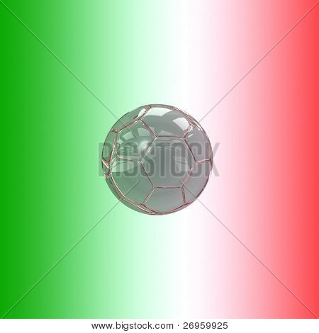 An illustration of a glass soccer ball with the italian flag's colors.