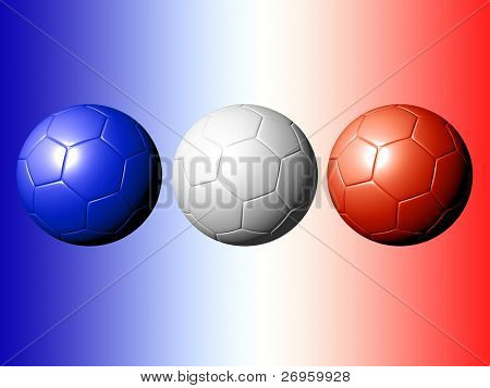 An illustration of 3 soccer balls with the french flag's colors.