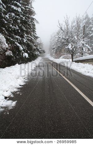 Desert road in the snow