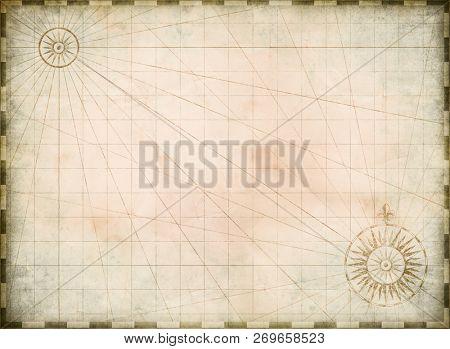 Vintage burnt blank treasure map