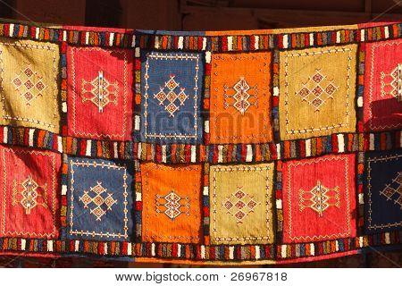Closeup of Berber Patchwork Blanket