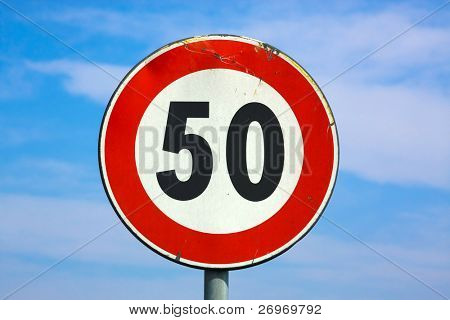 50 km/h speed limit signal