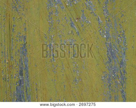 Olive Green Grunge Peeling Paint Closeup