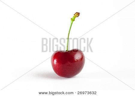 Sweet cherry on a white background and a soft shadow