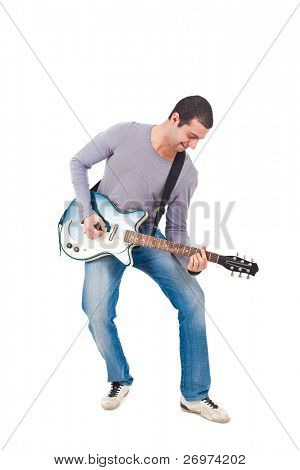 Full length shot of a young man playing guitar isolated on white