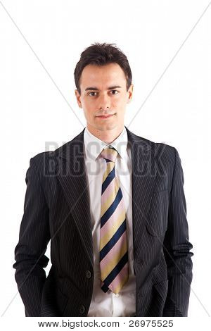 Young handsome businessman isolated on white