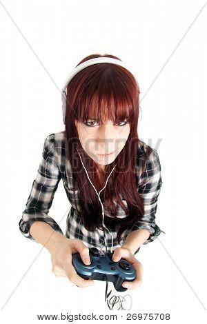 Young woman handling a joypad isolated on white