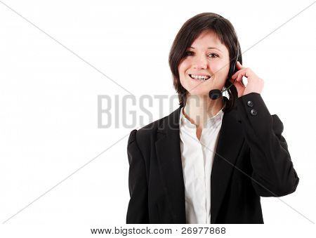 Cute young call center employee isolated on white