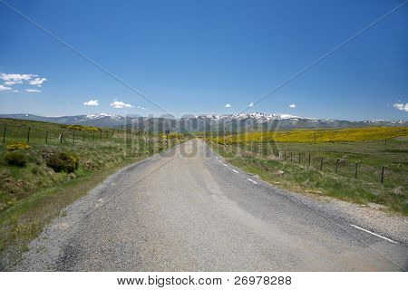 Lonely Rural Road At Gredos Mountains