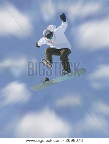 Snowboarders In Airborne Mode