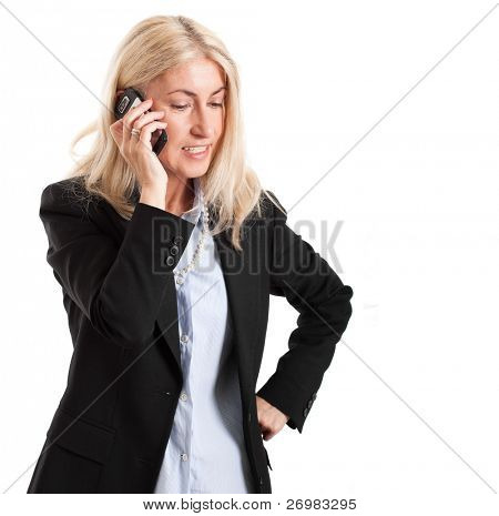 Businesswoman using a cell phone. Isolated on white background.