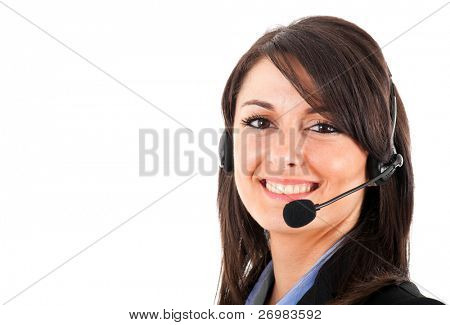 Young beautiful call center female operator portrait isolated on white