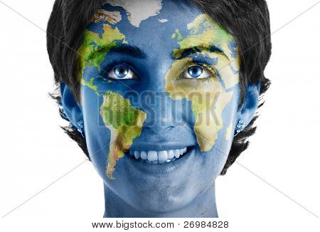 Woman with world painted face