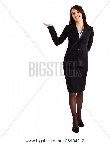 Businesswoman portrait full length in a welcome pose