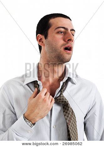 Employee sweating in a warm office