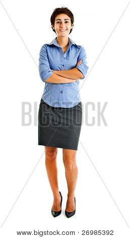 Bild von confident Business Woman with Hands in voller Länge gefaltet over white background