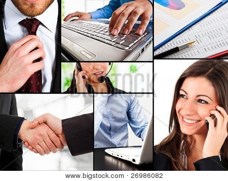 Business themed collage illustrating work, communication, finance and technology