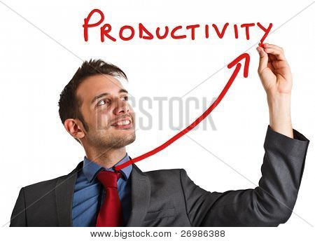 Friendly businessman writing the word Productivity and a rising arrow