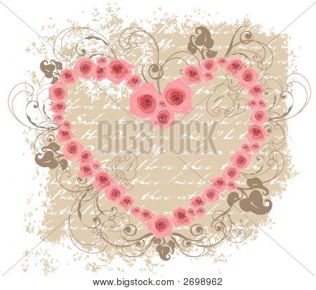 Open Heart Pink Roses Love Poem Valentine (Vector)