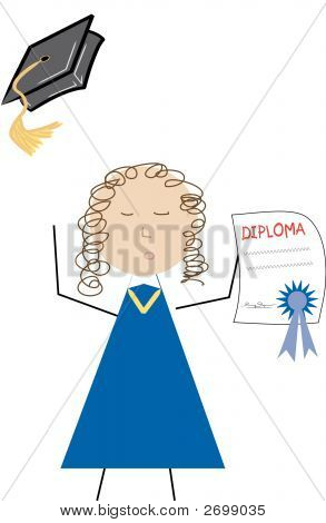 Graduate With Diploma And Throwing Cap.