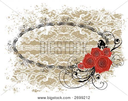 Lace Oval Frame Valentine Red Roses And Swirls (Vector)