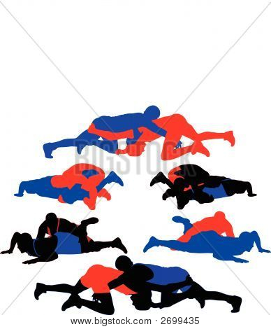 Wrestling Vector Silhouettes