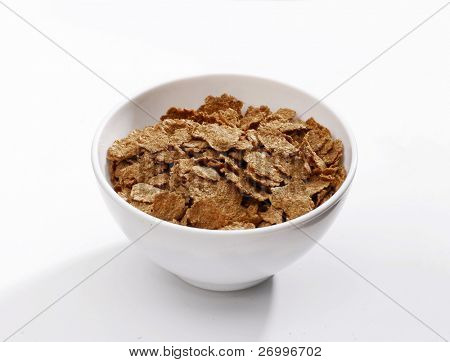 Cereal bowl on white background.