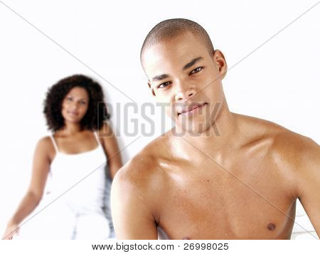 Portrait of young afro american couple.