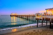 Scenic Coastal Landscape Illuminated By Night Of Malibu Pier In Malibu, California, United States Se poster