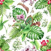 Hand Drawn Flowers And Leaves Of Tropical Plants. Seamless Floral Pattern Made With Watercolor Green poster