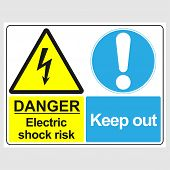 Plate: danger. Electric Shock Risk. Keep Out. Sign: danger. Electric Shock Risk. Keep Out On A G poster